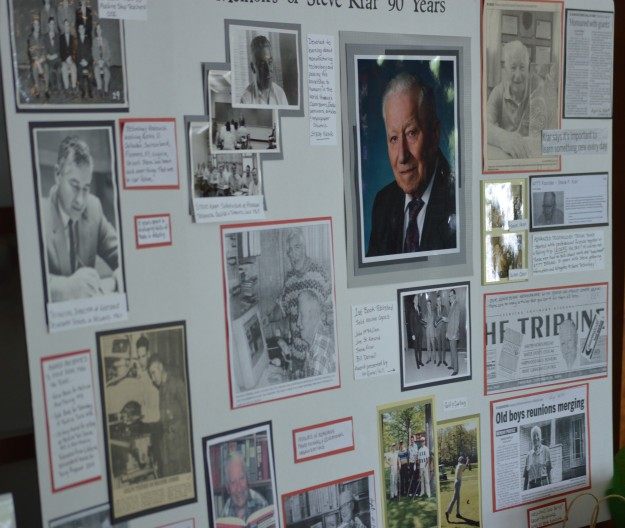 Memorabilia board on display at the birthday party.