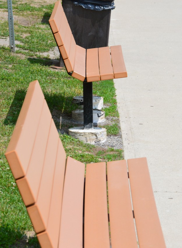Some of the new benches that await transit users at the college.