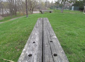 Benches from yesteryear look well used. Or might they be weathered?
