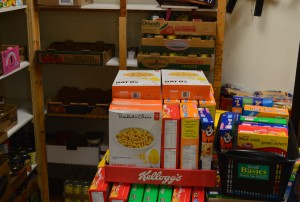 Boxes of cereal await being placed on shelves at a local food bank.