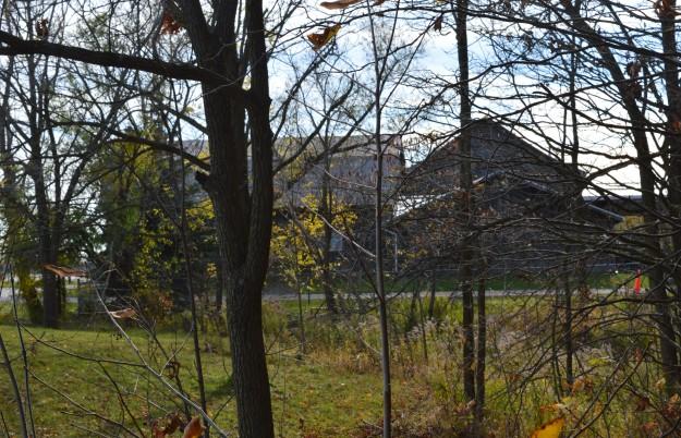 The local landmark, Auberge Richelieu, as viewed through adjacent trees.