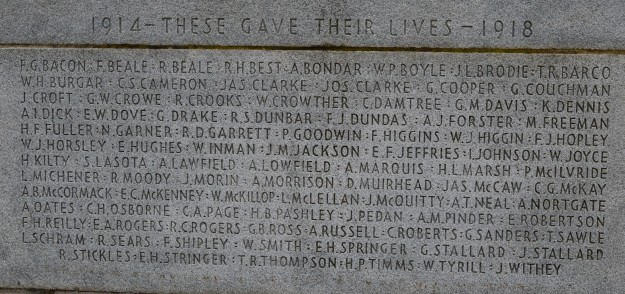 """Names of  """"local boys"""" from Welland and Crowland who gave their lives in the First World War, as inscribed on the Welland-Crowland War Memorial in Chippawa Park. (Photos by Joe Barkovich)"""