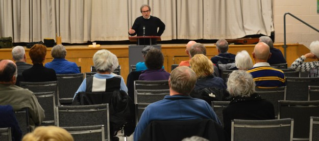 Columnist Joe Fiorito  was guest speaker Monday evening at St. Kevin parish, Welland. (Photos by Joe Barkovich)