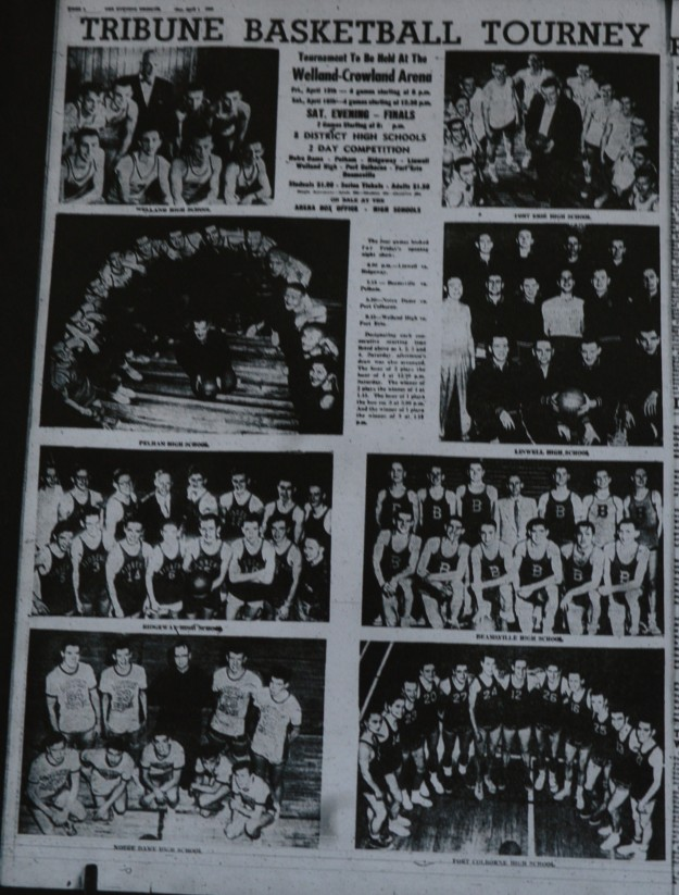 Pictured: Advance coverage from 1955 Tribune promoting the inaugural basketball tournament.