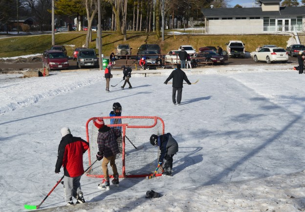 Welland's Chippawa Park outdoor rink was popular for hockey  and figure skating Sunday afternoon.  (Photos by Joe Barkovich)
