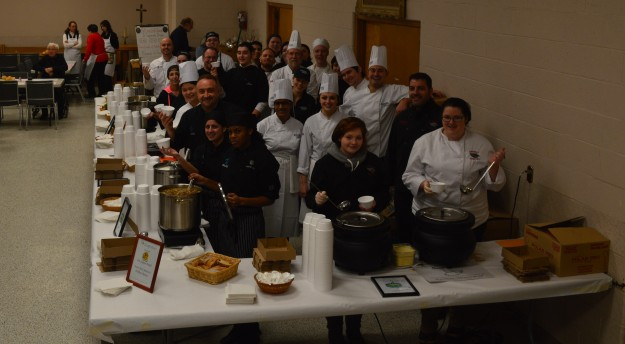 See anyone you know? Chef instructors and their students prior to the start of the Soup's On! luncheon today at St. Kevin's, Welland.  The participants were from: Niagara College's Canadian Food and Wine Institute; Blessed Trinity; Eastdale; Ecole Secondaire Confederation; Lakeshore Catholic and Notre Dame. The annual luncheon raises funds for a social justice scholarship. Close to 400 people  attended.(Photo by Joe Barkovich)