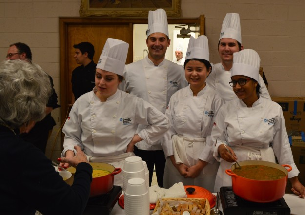 Niagara College's Canadian Food and Wine Institute student chefs at Soup's On! today in Welland. From left: Kasey Rodgers, Jonathon Weber, Quian Yan, Darcy Devereaux and Preet Maan. They served up two soups: beef with barley and roasted butternut squash. (Photo by Joe Barkovich)