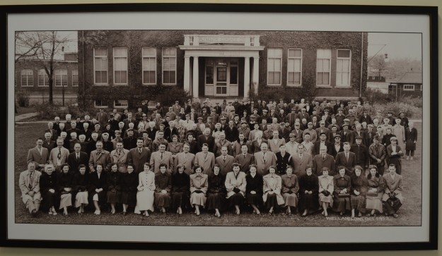 Plymouth Cordage staff, 1952. (This photo can be seen in at least two locations: the Plymouth Cordage Retirement Home on Plymouth Road and, in Welland County General Hospital's dialysis unit foyer.)