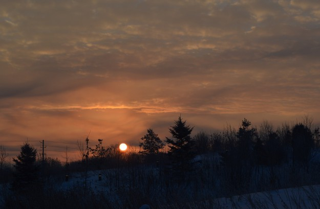 Sunrise over the Niagara College berm, at 7:20 a.m. today. It was one of the bright spots during a one-hour endurance trek through the college campus grounds.   (Photo by Joe Barkovich)
