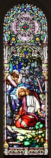 Window, St. Mary Church, Welland, Christ in the Garden of Gethsemane, by artist Guido Nincheri in 1933. Photo by Fr. Raymond Fenech Gonzi, Photo shop / editing Walter Gambin.