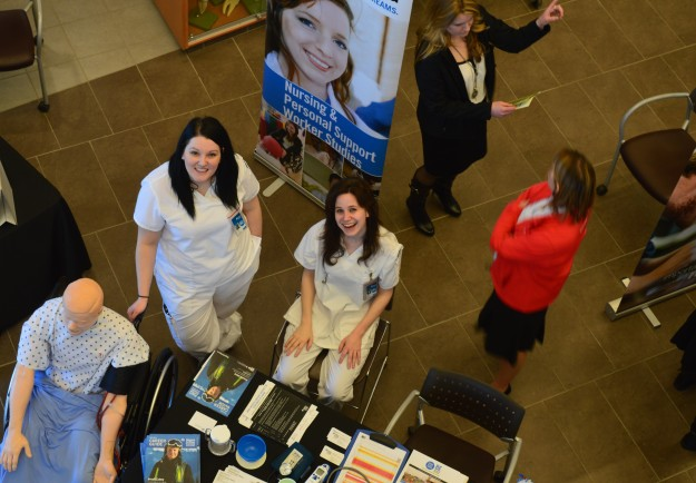 Some of the nursing, and personal support worker students at their information display at the college's Open House on Saturday. (All photos by Joe Barkovich)
