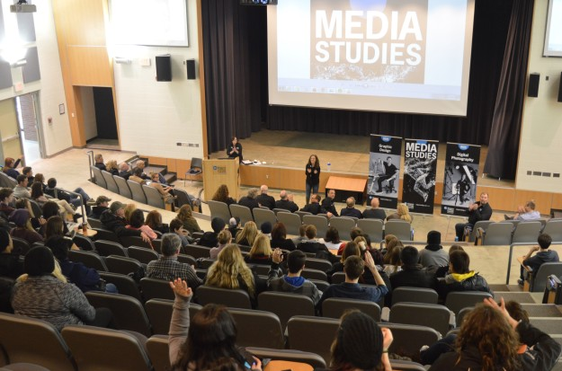 We sat in for a few minutes on the  information session about media studies, held in the Welland campus auditorium.