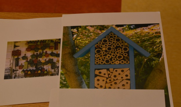"According to one online source, bee hotels are places for solitary bees to make their nests. These bees live alone, not in hives. They do not make honey. Solitary bees are much less likely to sting than honeybees because they aren't defending a hive. Solitary bees lay their eggs in small holes. You can tell bees are using your hotel when they make a mud ""door"" to cover the entrance hole. This means a female bee has laid an egg inside. After the bee hatches, it will eat a supply of pollen until it is ready to break through the mud and fly away."