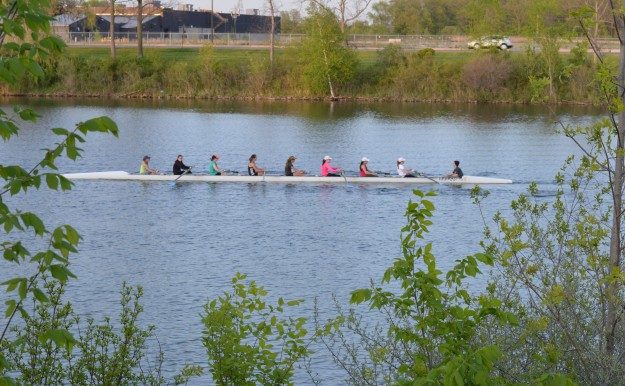 A coxed women's eight glides across the Welland recreational waterway in preparation for a high school regatta this weekend here in Welland. (Photo by Joe Barkovich)