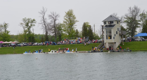 Spectators watched races from both sides of the waterway.