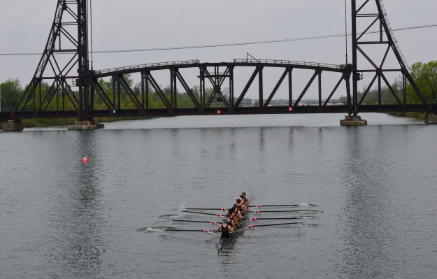 A boat heads for the starting line during today's South Niagara Rowing Club High School Invitational. More than 1,100 athletes from 66 schools are in town for the two-day regatta. Races got underway today at 8 a.m. and will start tomorrow at 8 a.m. (Photos by Joe Barkovich)