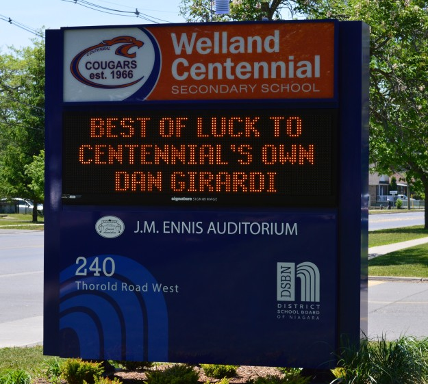 Welland's Dan Girardi is cheered in this message board outside Centennial Secondary School, his former high school. Girardi's New York Rangers face Tampa Bay Lightning Friday night in Game 7 of their Eastern Conference championship. The winner moves on to the Stanley Cup final.  Good luck, Dan!(Photo by Joe Barkovich)