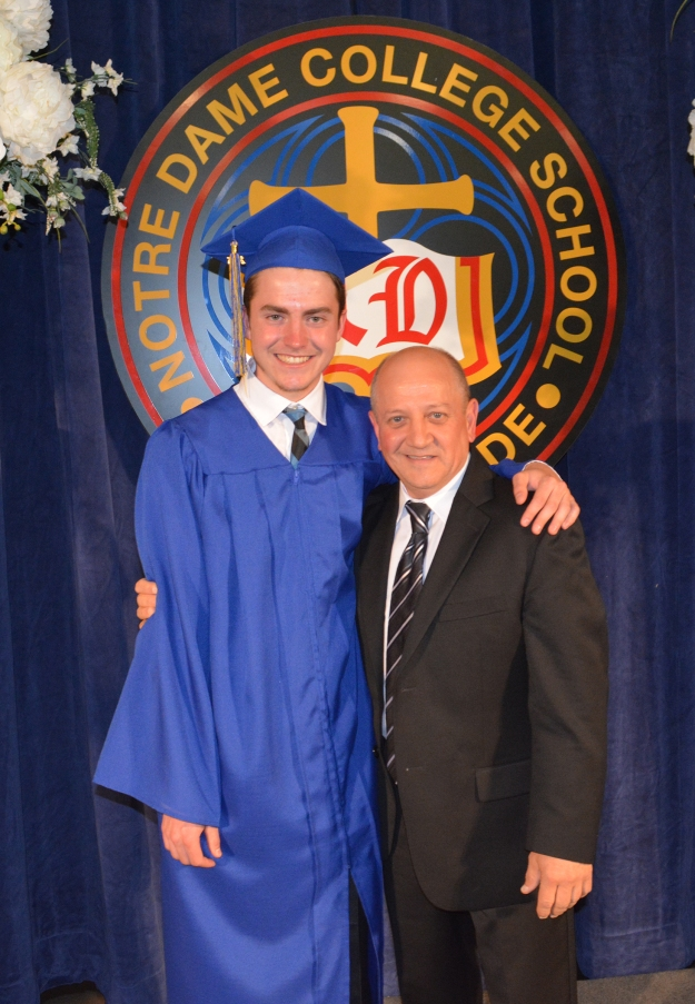 Valedictorian, Conary Coyne, presented an eloquent speech to the graduating class stressing the importance of gratitude and assisting one another in life. Conary is the recipient of the prestigious Schulich Leader Scholarship; one of 25 engineering scholarships given out in Canada. Conary is pictured here with ND principal Ralph DeFazio (Photo courtesy Kevin Grand/Notre Dame College School)
