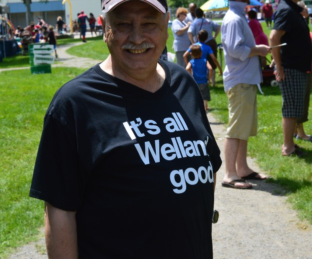 Wellander Wayne Campbell, proud of his home town, sported a 'It's all Welland good' t-shirt to help get the message out. He and wife Blair dropped in on Days in the Park for  a look at what was going on.