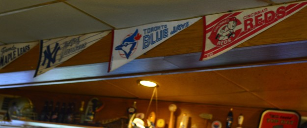 Sports team pennants are part of the décor. Had to capture the Jays pennant but hey, how did that Leafs flag get in there???