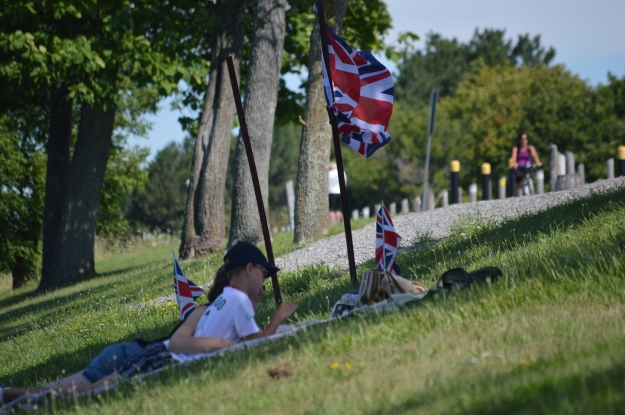 Brit supporters staked out territory on the east-side bank.