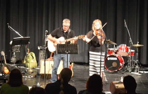 Dave and Natalie, who also perform as Fiddlin Around, opened the second half of the show.