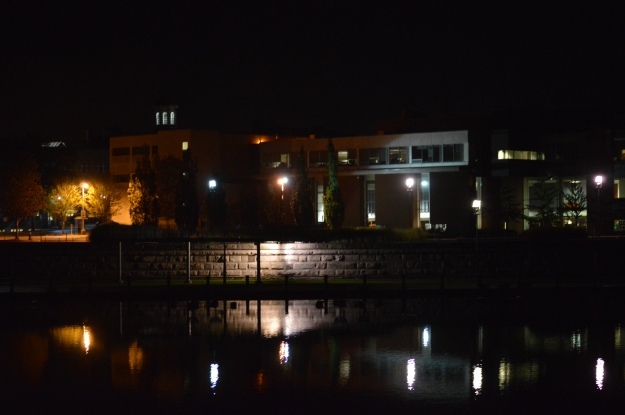 Welland's city hall and library building, rear view, can be a pretty scene at night, as it was Saturday. (Photo by Joe Barkovich)