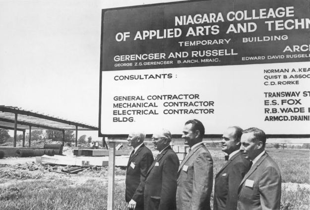 1967 caption, shown from left: Fred Harvey, interim administrator, Ivan Buchanan, board vice-president, Mayor Allan Pietz, a member of the board, Dr. W. George Bowen, college president and Ross Sawle, chairman of the building committee.(Photo by Bob Chambers)