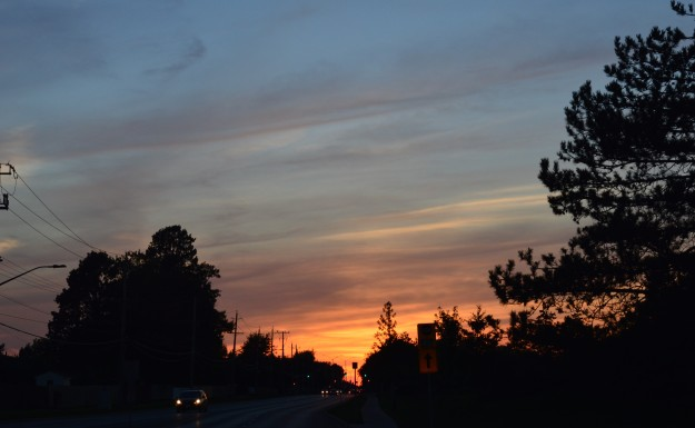 Heading east on Welland's Woodlawn Road, a glorious sunset at your back. (Photo by Joe Barkovich)