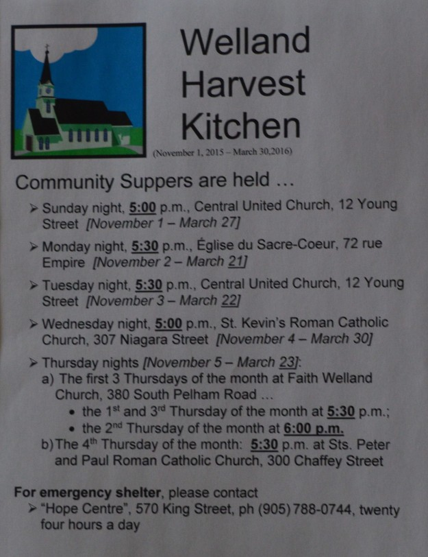 The Harvest Kitchen schedule for 2015-16 has been released. The new season begins Nov. 1 and continues to next spring.