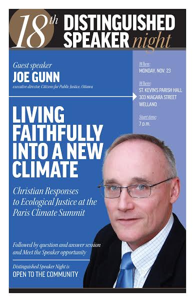 The guest speaker is executive director of Citizens for Public Justice. Joe Gunn's focus will be ecological justice when he speaks in Welland Monday, Nov. 23.