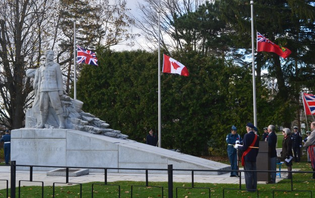 Flags at half staff at today's Service of Remembrance, Chippawa Park. Speakers included Welland Regional Councillor Paul Grenier, who represented the new Niagara Centre MP Vance Badawey and Regional chair Allan Caslin; Welland MPP Cindy Forster and Welland Mayor Frank Campion.
