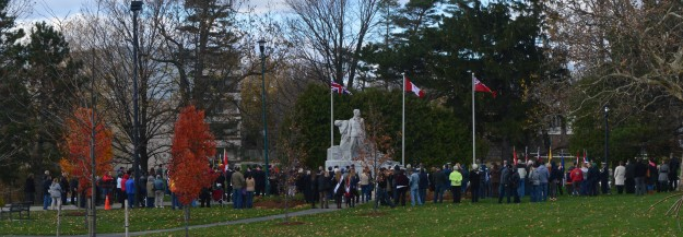 From a distance, the assembled multitude at today's Branch 4, Royal Canadian Legion Service of Remembrance in Welland's Chippawa Park. (Photos by Joe Barkovich)