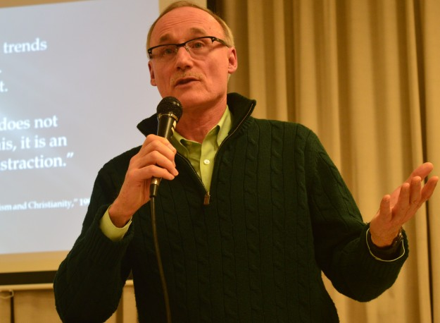 Joe Gunn, executive director of Citizens for Public Justice, spoke Monday evening in Welland about climate change and ecological justice. As important as the issue is, do many people even care? Column to follow.(Photo by Joe Barkovich)