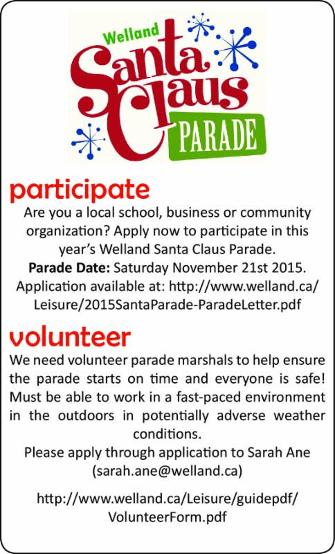 CITY SHORTS ART: Welland's Santa Claus parade is on November 21. See item in shorts column.