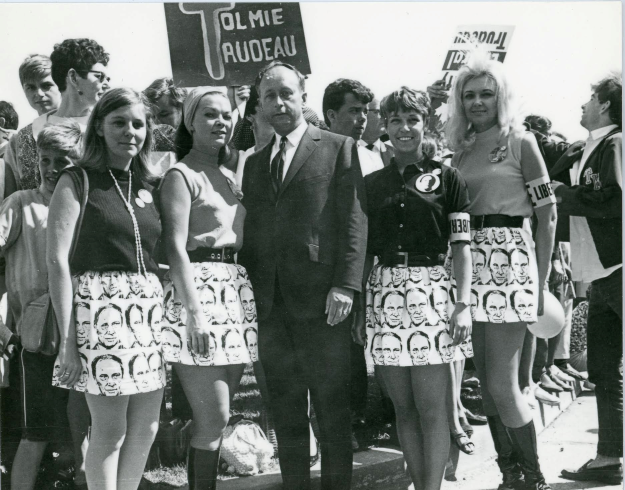Imagine a politician of today having their face printed on girl's mini-skirts. Well, Here's Don Tolmie, the well-liked Welland lawyer looking for his second term as an MP. I think the Trudeaumania girls were all from Welland.