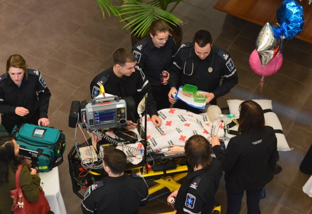 The Allied Health display, part of which is shown here, provided info about programs like paramedic, advanced care paramedic, dental hygiene and dental assisting among others. (Photo by Joe Barkovich)