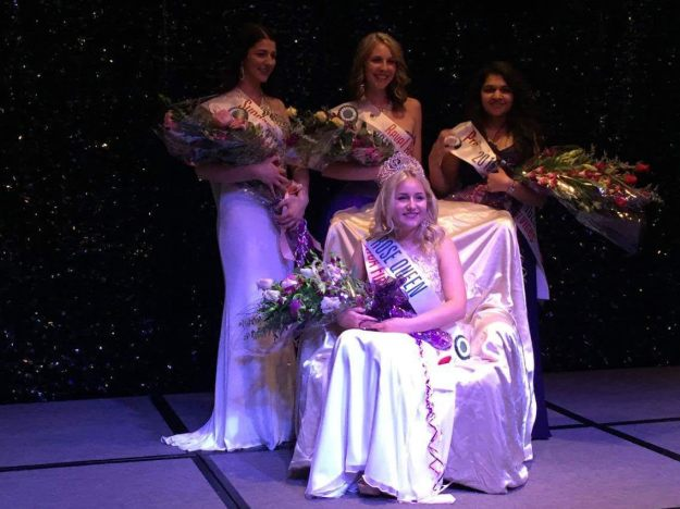Jen Marsh, seated, was chosen Welland's 2016 Rose Queen Friday evening at Riverstone Event Centre. Members of the Royal Court include, standing from left: Jasmyn Cote, first princess; Jaime Ayers, second princess; Vritti Pattel, Miss Congeniality. (Supplied photos)