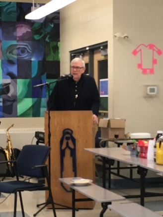 Fr. Jim Mulligan, associate pastor at St. Kevin Church, was guest speaker during the social. Fr. Mulligan spoke eloquently about the tradition of pilgrimage at Notre Dame. (Photo: Nancy Santamaria)