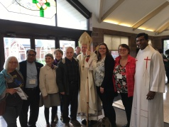 D and P delegates gather with Bishop Gerard Bergie and Fr. Vijai pastor at St. Kevin prior to the start of Mass, Sunday morning. (Photo: Nancy Santamaria)