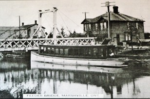 Passenger Boat at Wainfleet Village and Swing Bridge circa 1840s