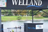 Rowing past the floating stage in Merritt Park, downtown Welland area.