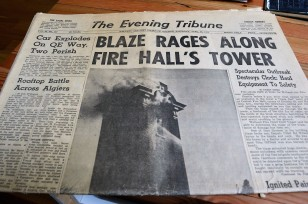 Newspaper clippings, pages, photos provide a great compilation of fire department history over the years. This front-page is from April 28, 1962.