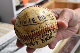 Grand slam ball, hit in a game against Fort Erie.