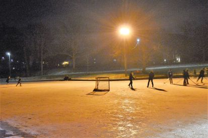 January: Canadian tradition, pond hockey. Under the lights, Chippawa Park, Welland. (Photos by Joe Barkovich)