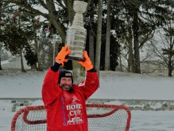 Paul Turner hoisting the Julia's Hope Cup trophy in a publicity photo from 2015. Turner goes to great lengths to promote the event year after year. (Photos by Joe Barkovich)