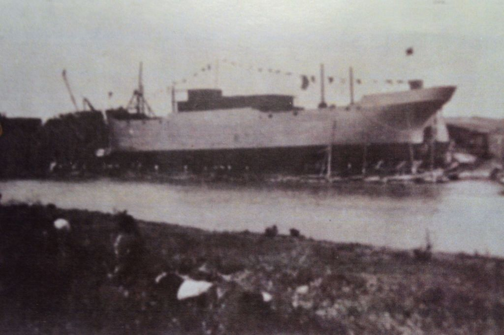 Photo one: A hull about to be launched.